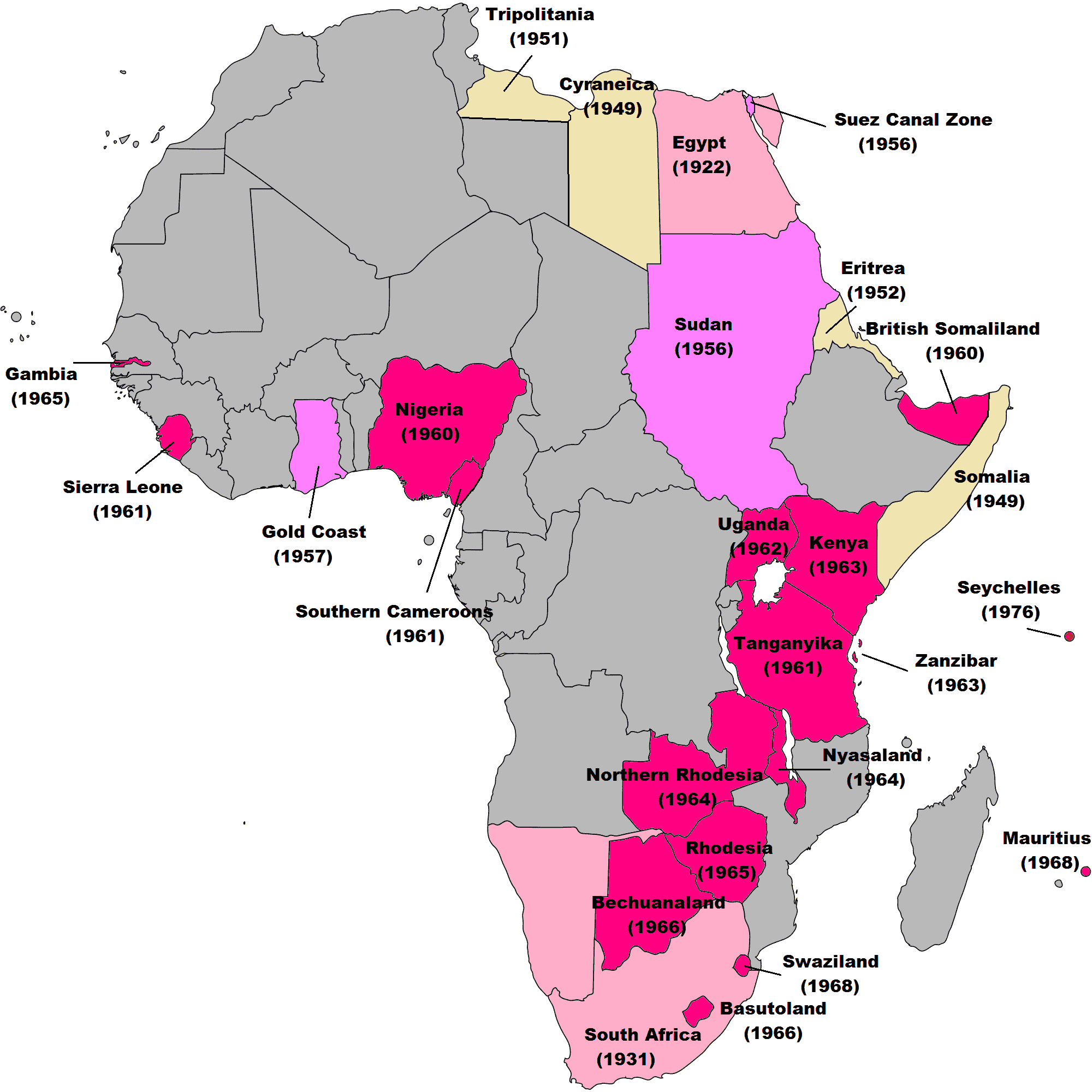 British Colonies through the African continent